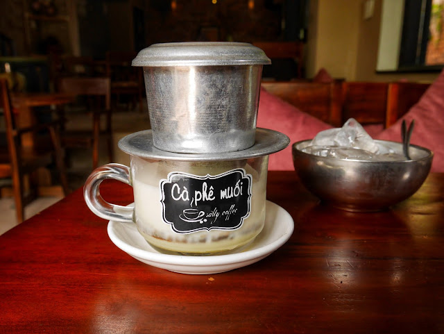 Salt Coffee served in Vietnamese stainless-steel coffee filter