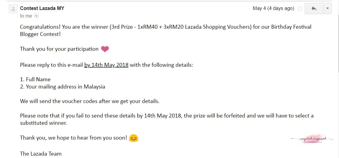 Menang 3rd Prize Lazada Birthday Festival Blogger Contest