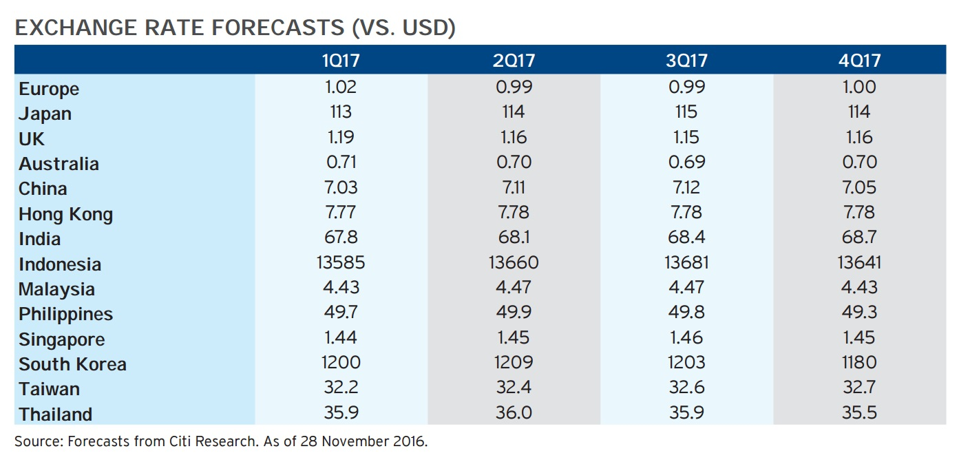 Citibank 2017 Forecast For Foreign Exchange Rate Against Usd