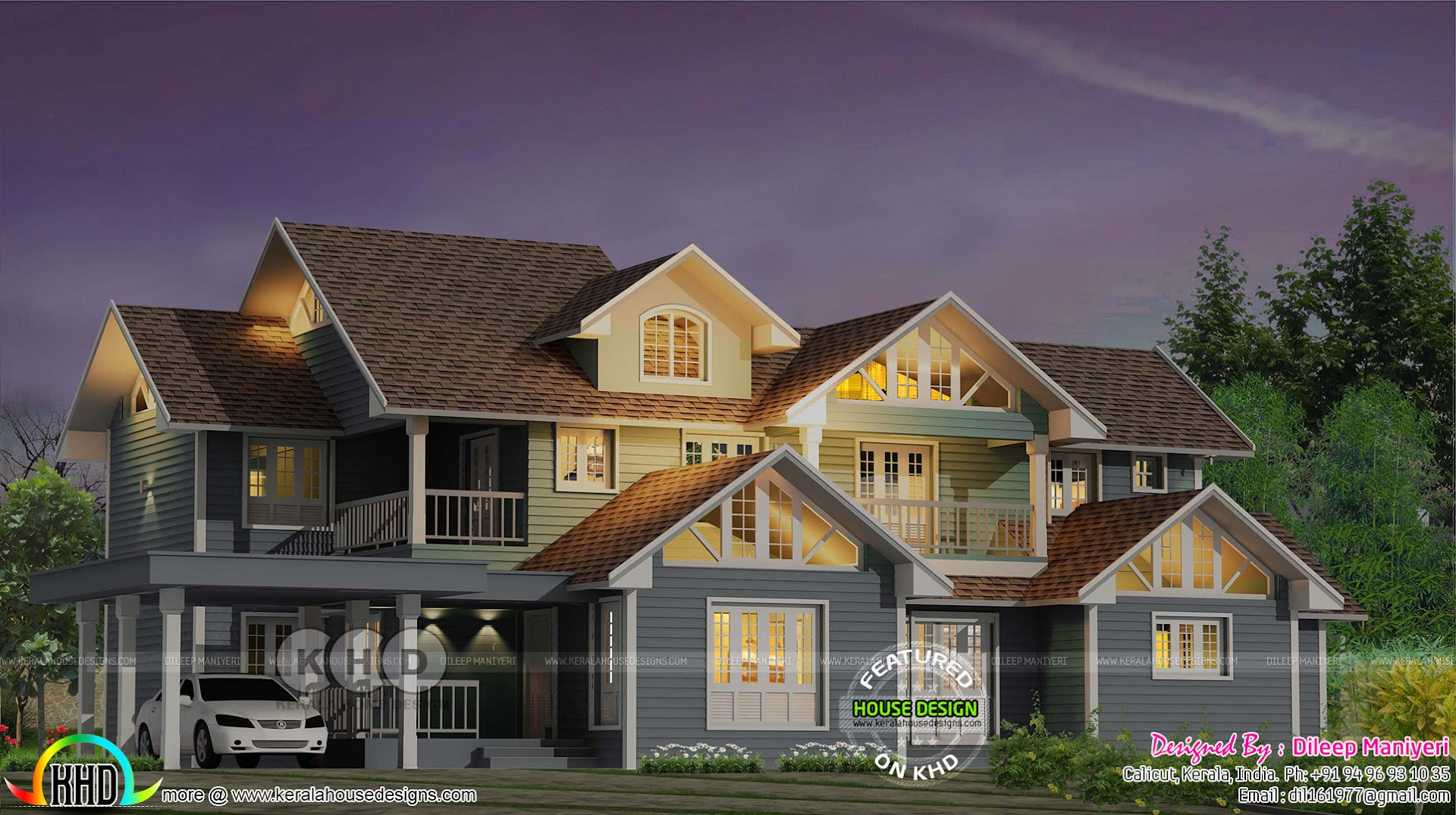 Beautiful english style 4 bedroom villa kerala home for 4 bedroom villa designs