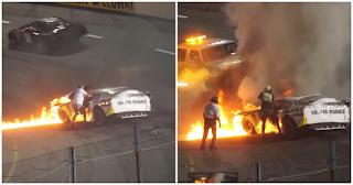 Πατέρας μπήκε σε αγωνιστική πίστα και βούτηξε το γιο του από φλεγόμενο όχημα δευτερόλεπτα πριν καεί ζωντανός