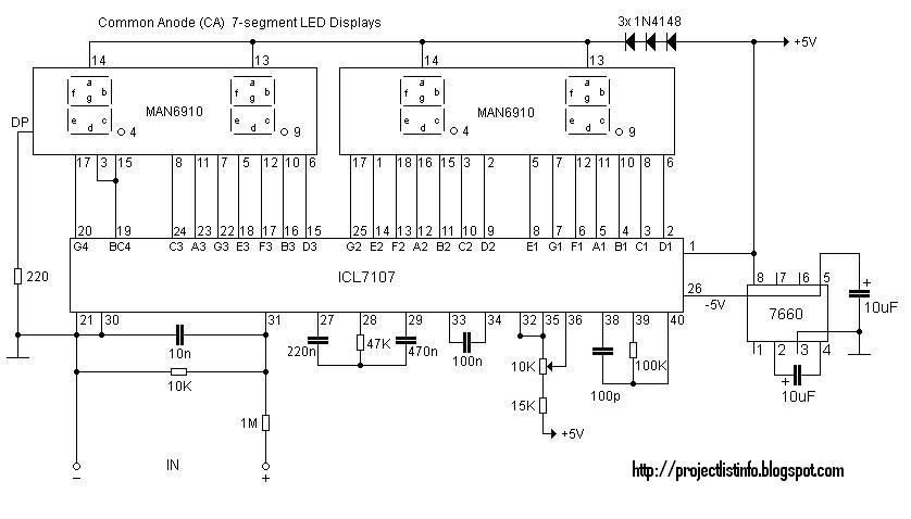 led display digital voltmeter circuit
