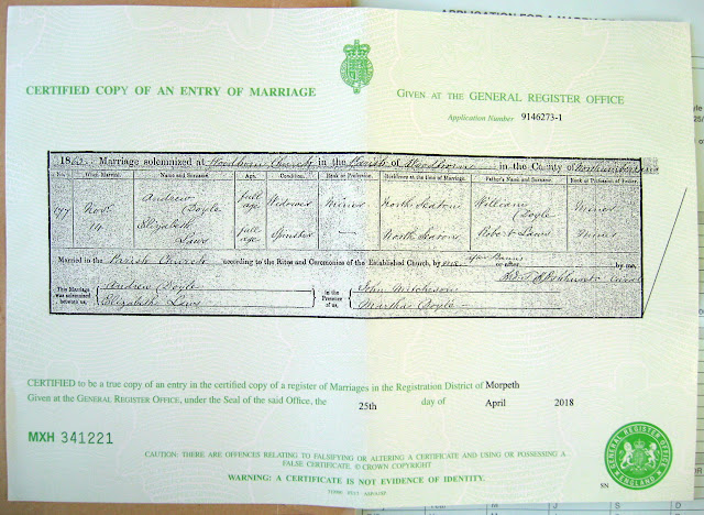 Marriage record from U.K. GRO
