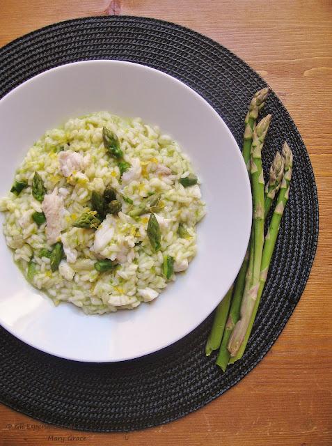 risotto agli asparagi e pesce lama