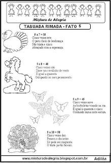 Tabuada rimada e ilustrada fato 5