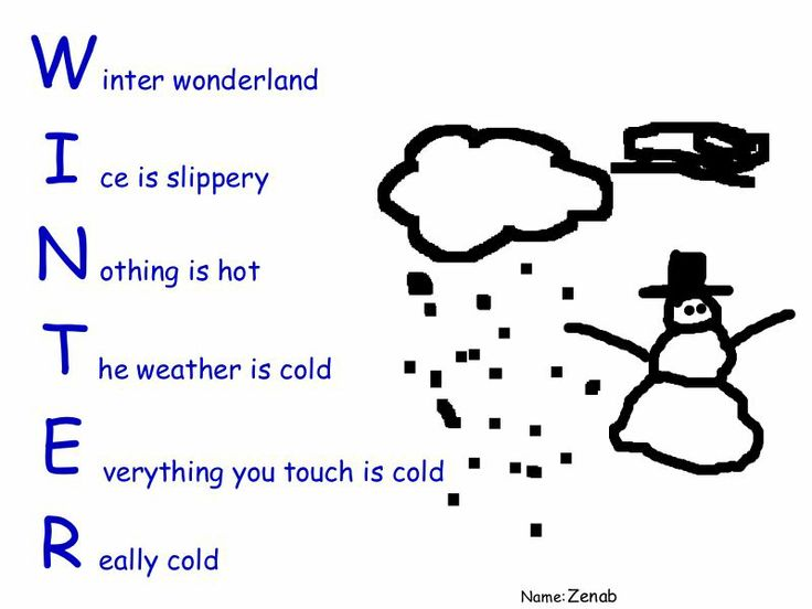 3rdgraders Ceip Juan Ocaña English Acrostic Poem Winter