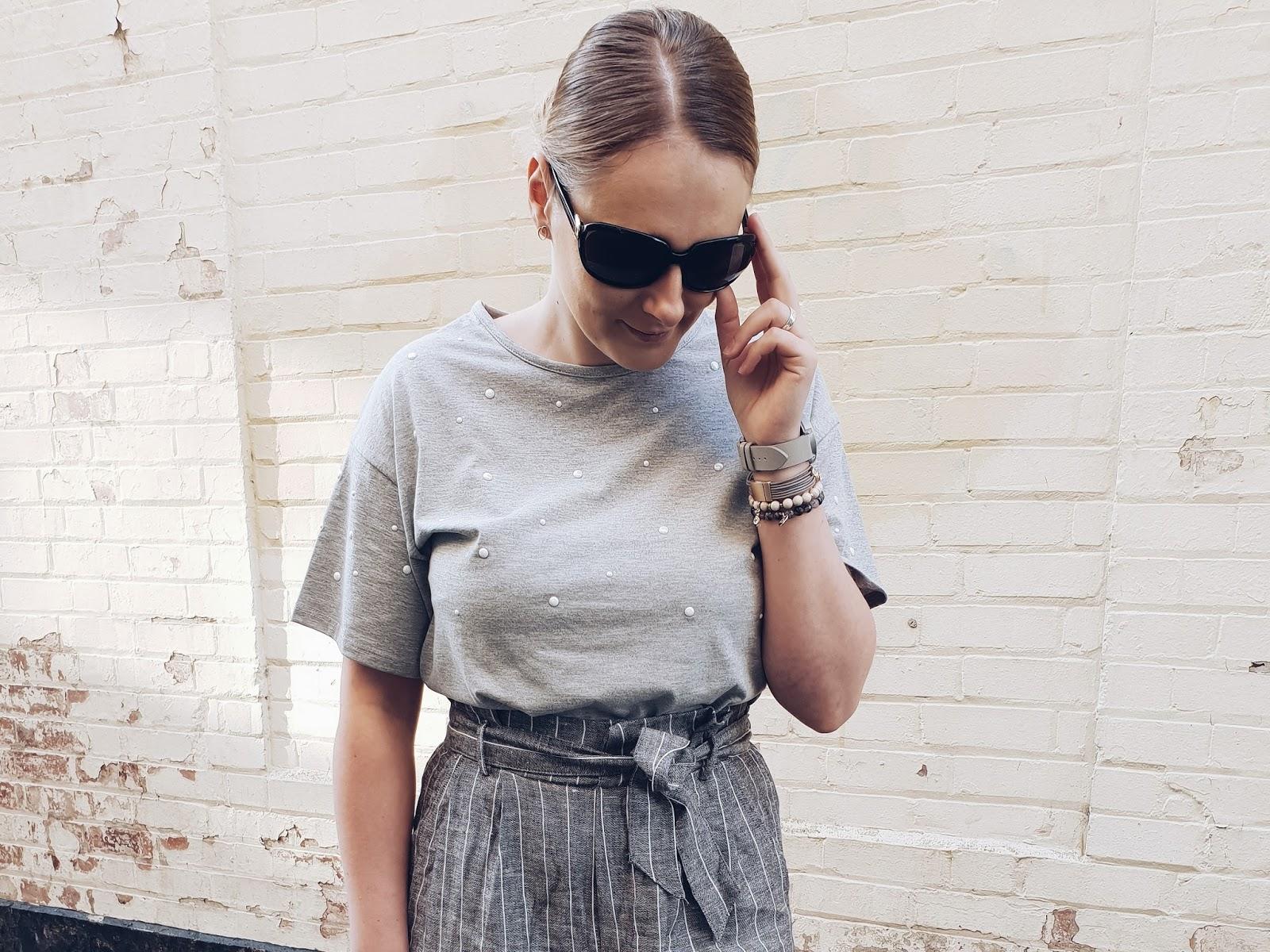 Grey summer czyli wiązane spodnie z wysokim stanem