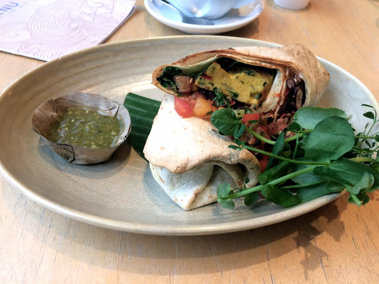 Close up of a breakfast burrito