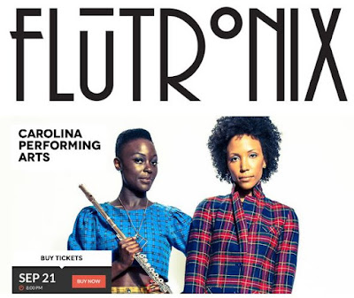 Flutronix: 9/12, Nathalie at Roulette, NYC; 9/15, Allison at The Met; 9/21, Both at UNC Chapel Hill