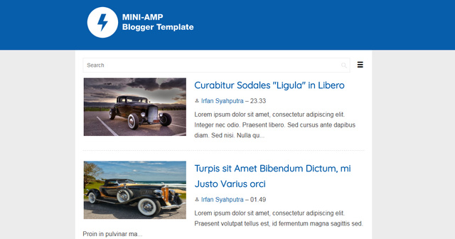 Mini AMP Ready Blogger Templates