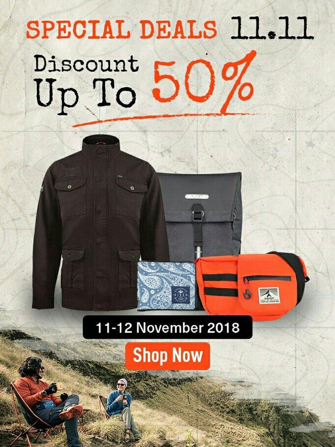 Eiger - Promo Special Deals 11.11 Diskon s.d 50% (s.d 12 Nov 2018)