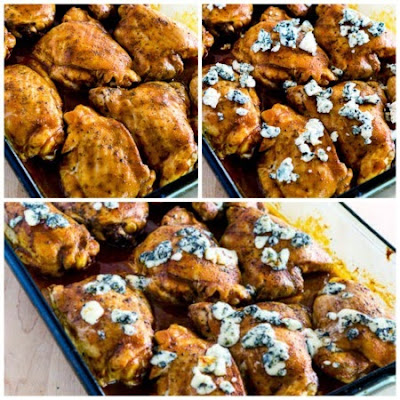 Baked Buffalo Chicken with Melted Blue Cheese (Low-Carb, Gluten-Free) found on KalynsKitchen.com