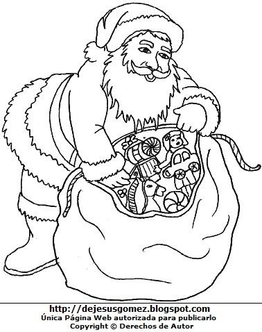 Dibujo Papa Noel o Santa Claus con regalos en su costal para colorear pintar imprimir. Dibujo de Papa Noel de Jesus Gómez