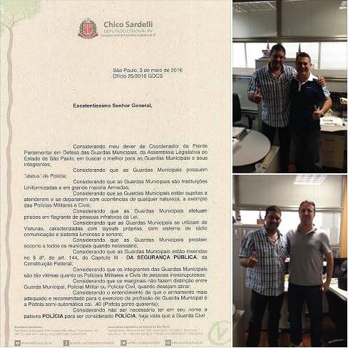 Coordenador da Frente Parlamentar em defesa das Guardas Civis da ALESP, solicita ao Exército Brasileiro a liberação do cal .40
