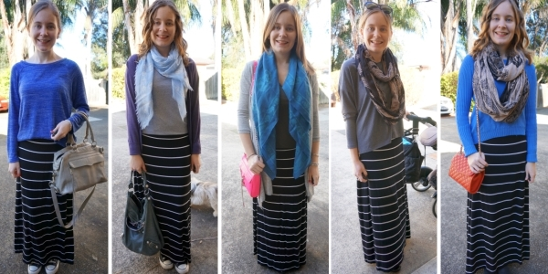 Ways to wear a striped maxi skirt in Winter with layers | AwayFromBlue