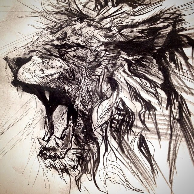06-Lion-Pen-sketch-Matthew-McHugh-Animal-Drawings-and-Surreal-Interpretations-www-designstack-co