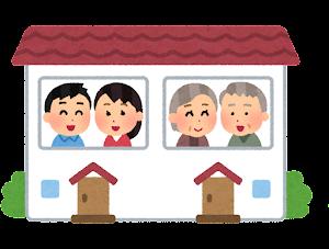 二世帯住宅のイラスト(完全分離型)
