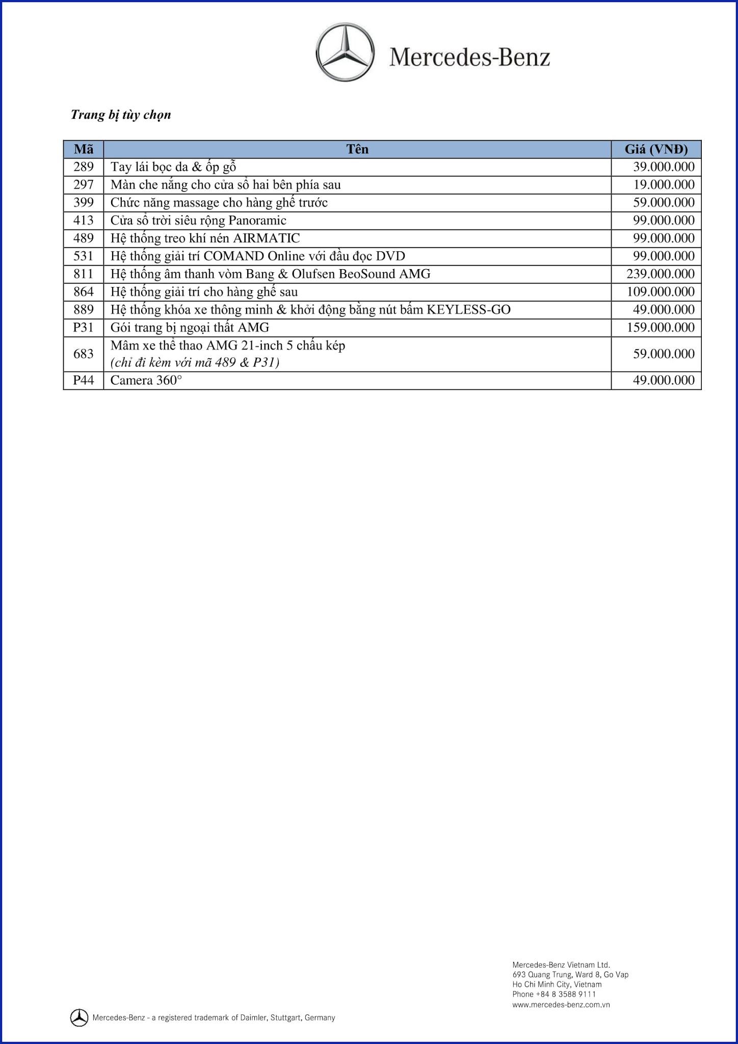 Bảng thông số kỹ thuật Mercedes GLE 400 4MATIC Exclusive 2017 tại Mercedes Trường Chinh