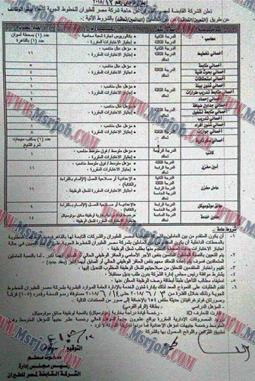 وظائف شركة مصر للطيران للخطوط الجوية - تطلب مؤهلات عليا ومتوسطة والتقديم حتى 14 / 6 / 2018