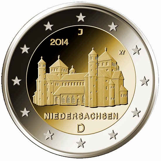 2 euro Germany 2014, St. Michael's Church in Hildesheim, Lower Saxony