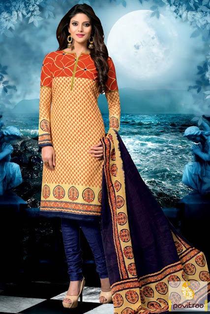 Diwali festival beige and cobalt blue cotton salwar suit online with best price in India