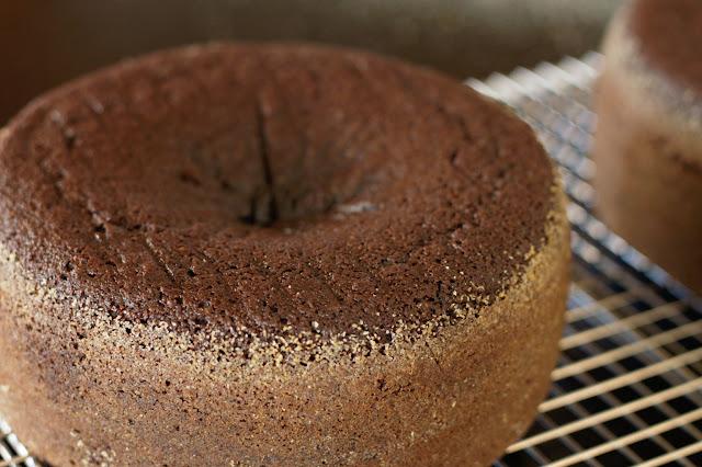 Sunken dark chocolate cake