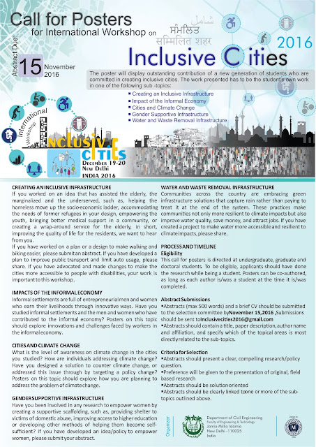 Impage of the Call for Poster for Inclusive Cities Workshop 2016