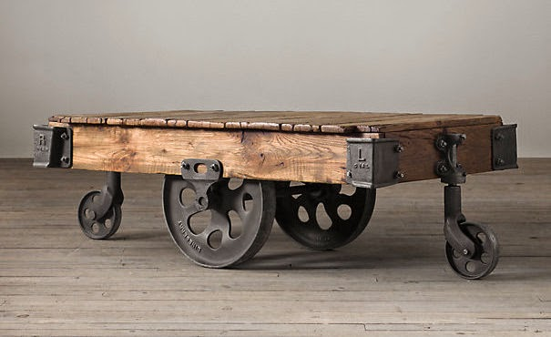 DIY Factory Cart Coffee Table - Maison Blanche Decor