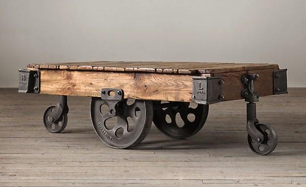 DIY Factory Cart Coffee Table - Maison Blanche Decor