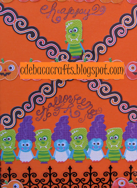 Handmade halloween card with stickers and bling by CdeBaca Crafts Blog.