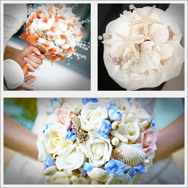 Bouquets com pérolas e conchas marinhas