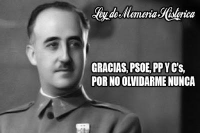Franco, PSOE, PP, VOX, C´s, ERC, IU, CUP, PDECAT, gracias por no olvidarme nunca