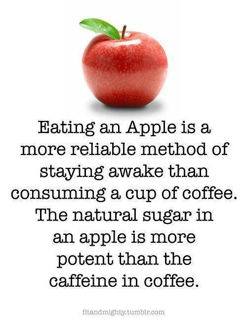 Eating Apple is a more reliable method of staying awake than consuming a cup of Coffee