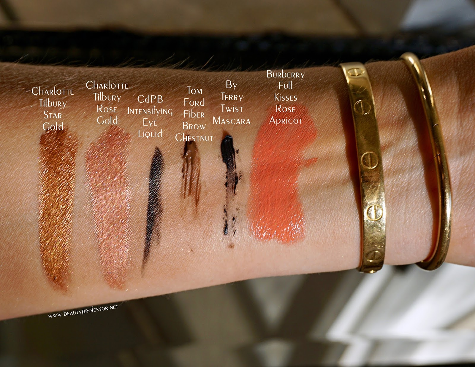charlotte tilbury star gold rose gold swatches