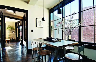 white walls and black trim