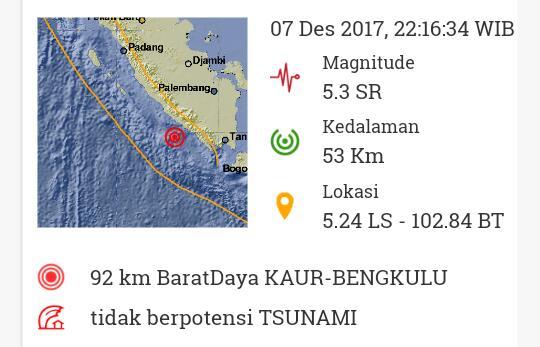 Gempa Bengkulu Terasa Hingga Lampung