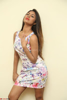 Nishi Ganda stunning cute in Flower Print short dress at Tick Tack Movie Press Meet March 2017 062.JPG
