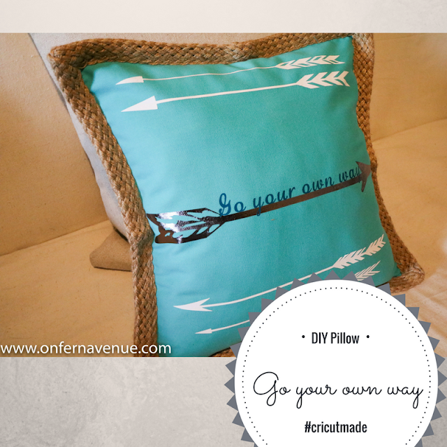 Iron On Vinyl and cricut eplorer air to create designer pillows