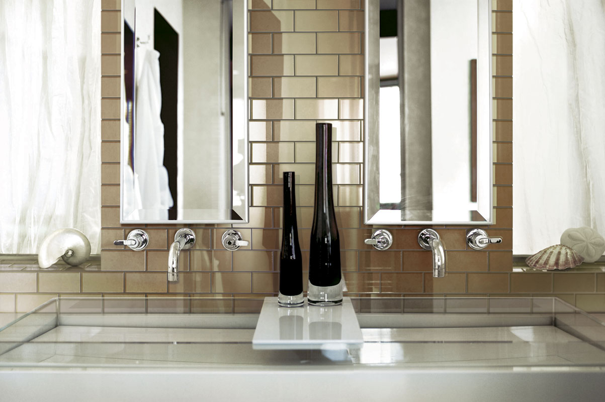 Mirror Subway Tiles Bathroom