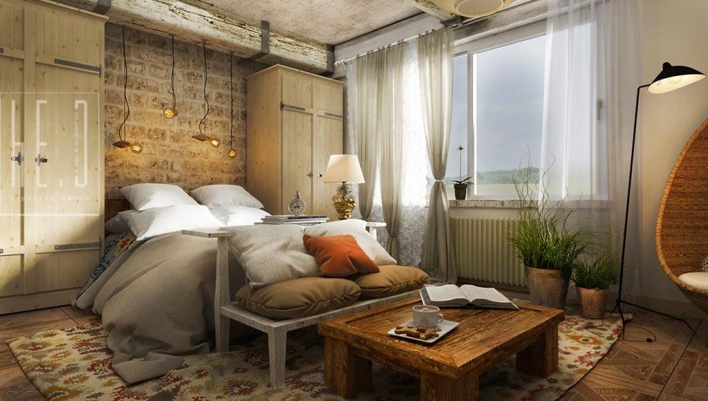 Dormitorio rustico con ladrillos y madera dormitorios - Dormitorio de madera ...