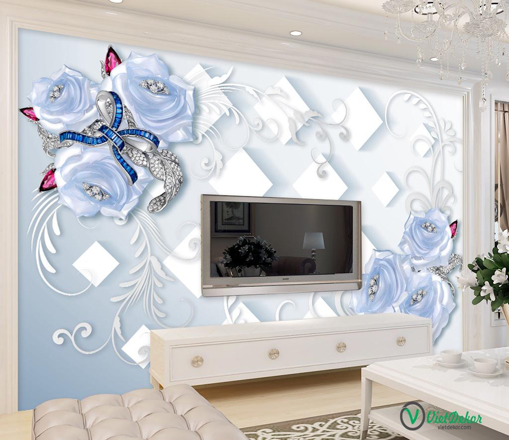 Tranh dán tường 3d hoa hồng trang trí phòng