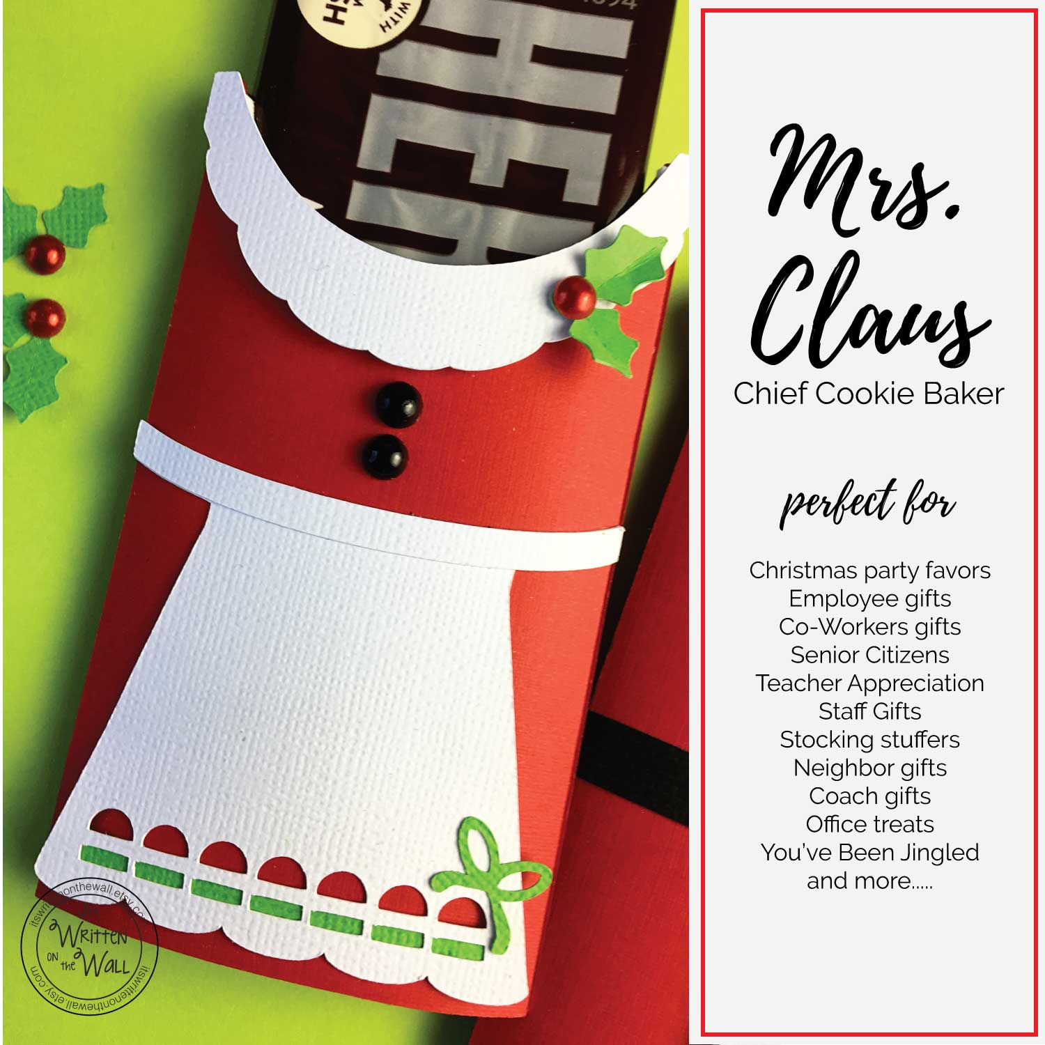 Mrs. Claus Candy Bar Wrappers