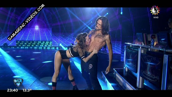 Nina Iraolagoitia hot licking a guy abs live on TV Damageinc Videos HD