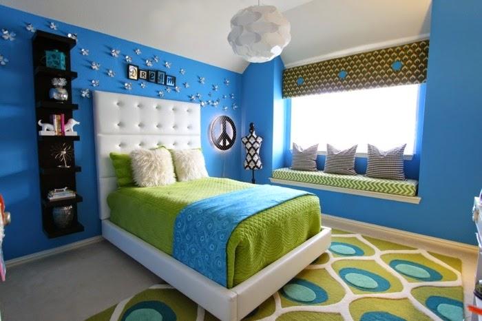 Habitaci n en verde y azul dormitorios colores y estilos for Cuartos decorados azul
