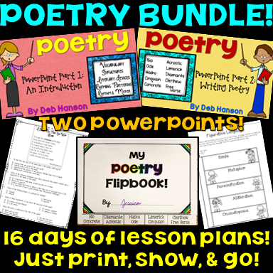 Poetry Bundle for upper elementary and middle school classrooms! This includes poetry lessons and activities for 16 days!