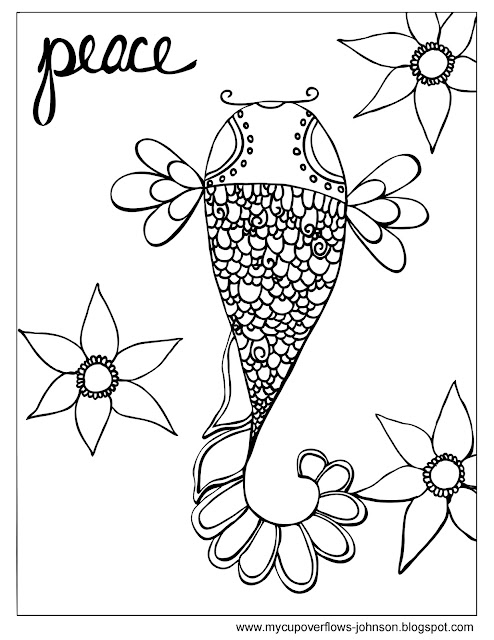 coloring page of fish and flowers with caption peace Philippians 4:7