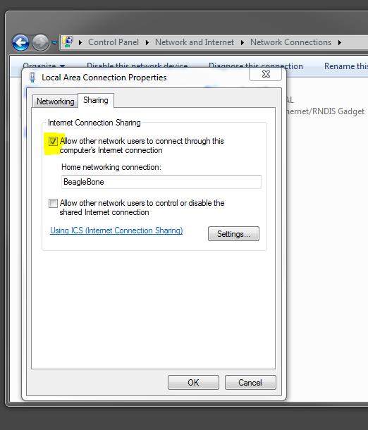 Carl Lance: Windows 7 Internet Sharing for BeagleBone Black