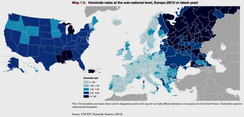 Homicide rates in Europe and the US.