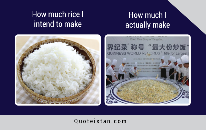 How much rice I intend to make vs How much rice I actually make