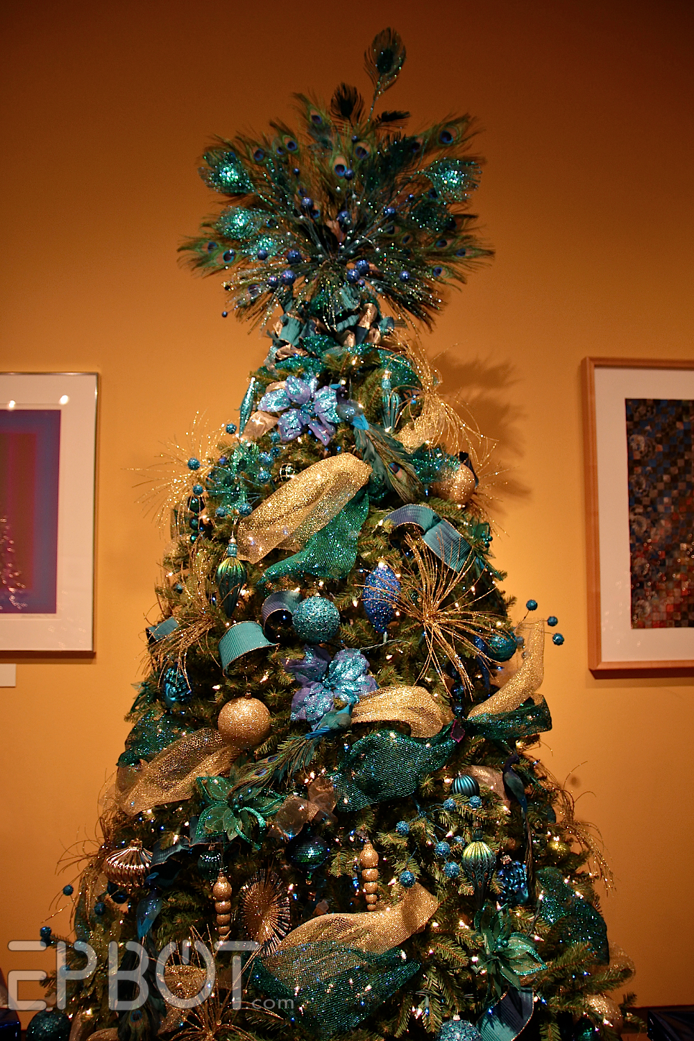 this one had a great earthy theme with mushrooms branches leaves and iridescent bubble ornaments